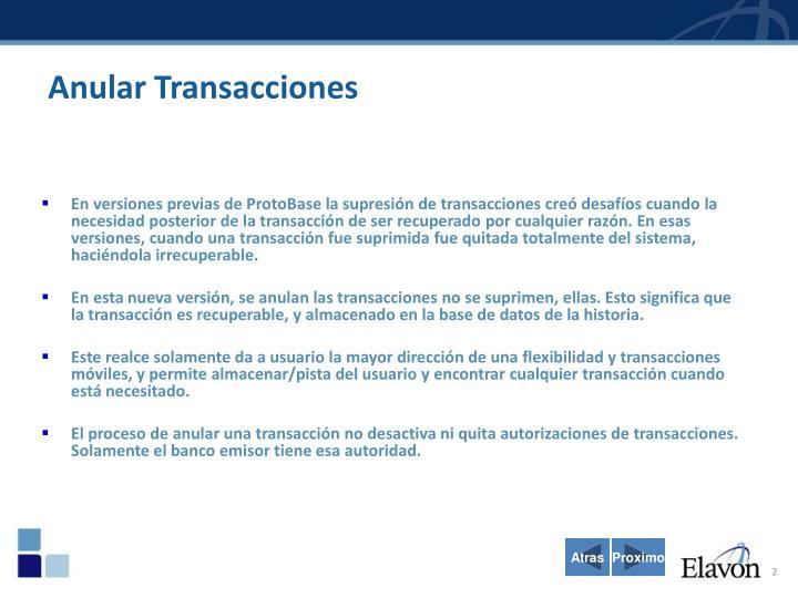 Anular Transacciones