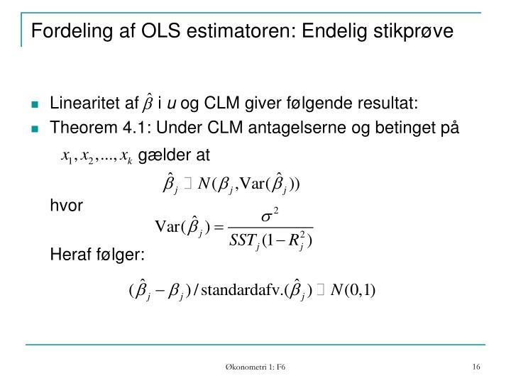 Fordeling af OLS estimatoren: Endelig stikprøve