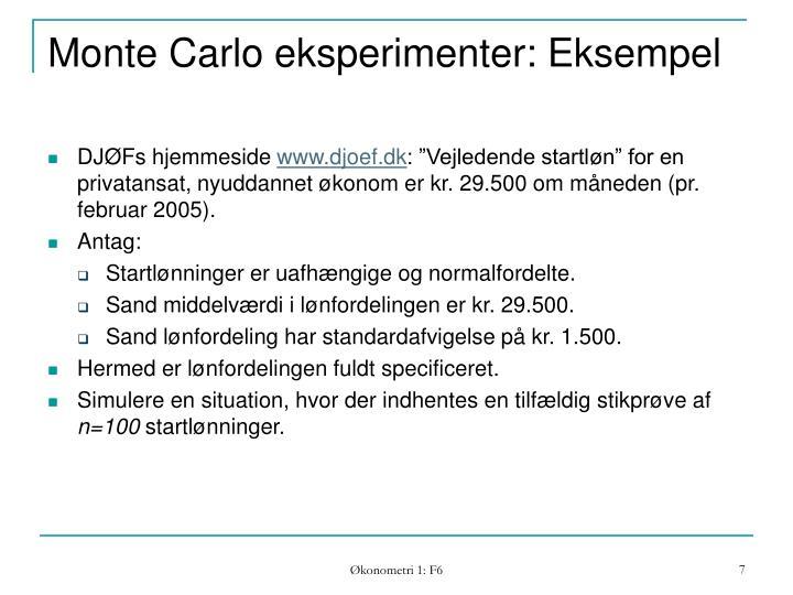 Monte Carlo eksperimenter: Eksempel