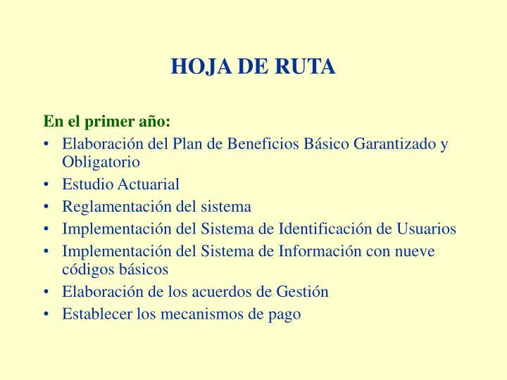 HOJA DE RUTA