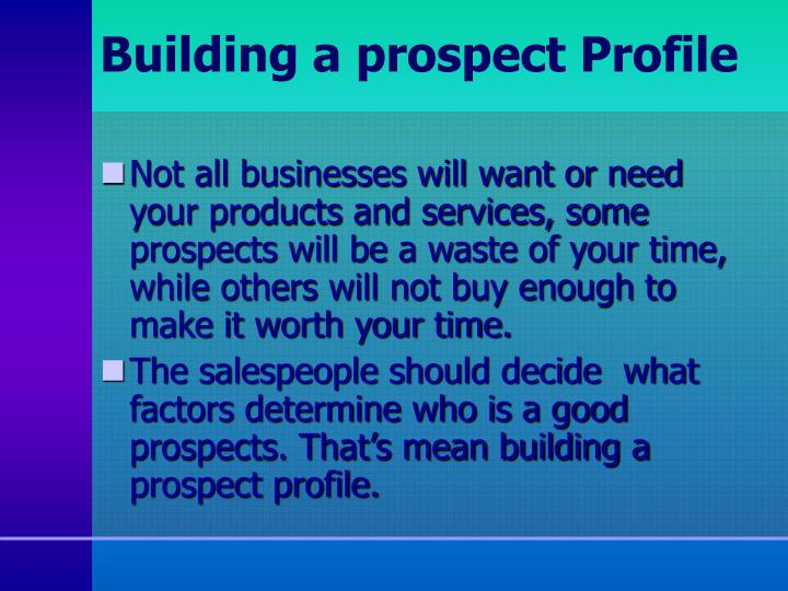 Building a prospect Profile