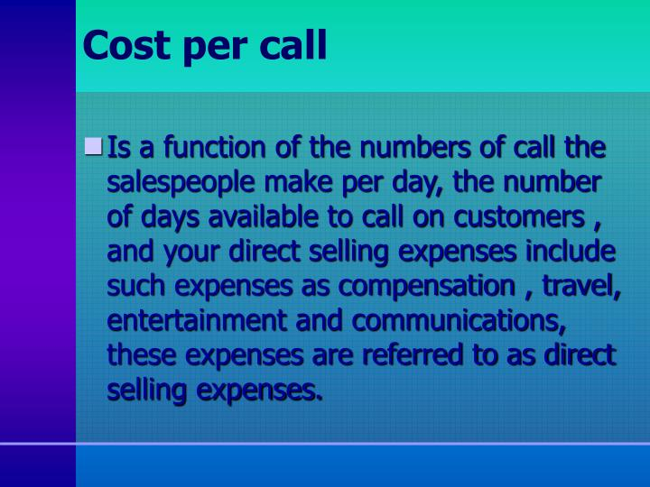 Cost per call