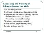 assessing the validity of information on the web2