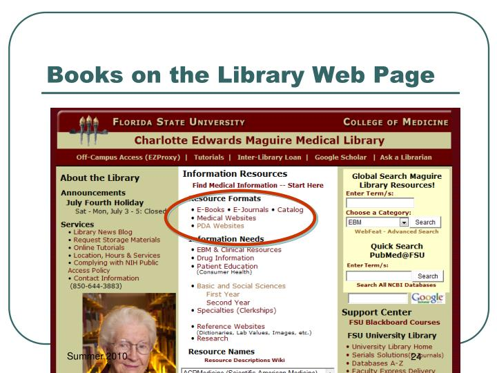 Books on the Library Web Page