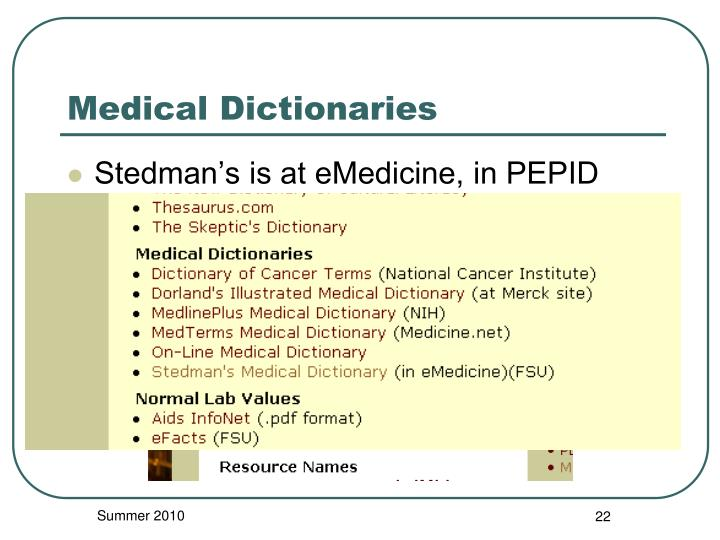 Medical Dictionaries