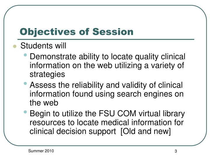 Objectives of session
