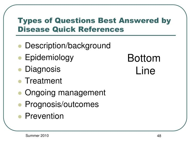 Types of Questions Best Answered by Disease Quick References