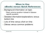 when to use ebooks versus quick references