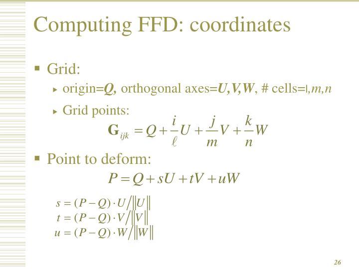 Computing FFD: coordinates