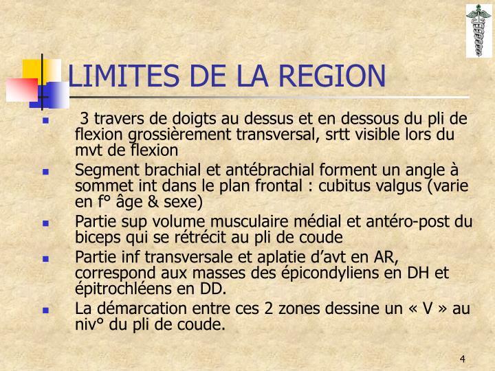 LIMITES DE LA REGION