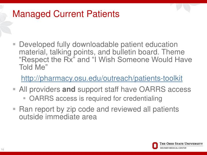 Managed Current Patients