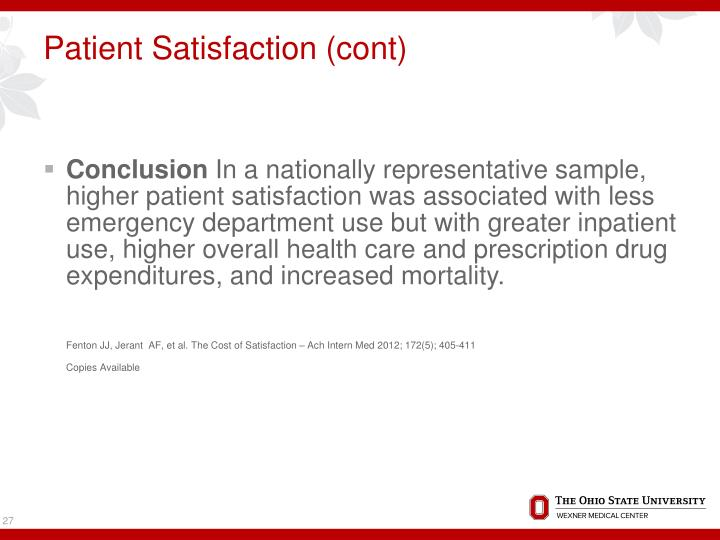 Patient Satisfaction (cont)