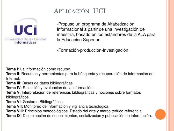 Aplicación  UCI