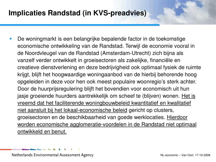Implicaties Randstad (in KVS-preadvies)