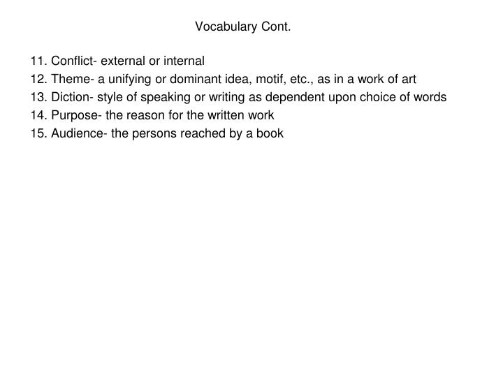 Vocabulary Cont.