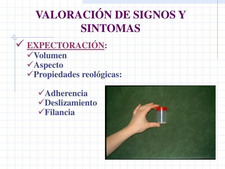 VALORACIÓN DE SIGNOS Y SINTOMAS