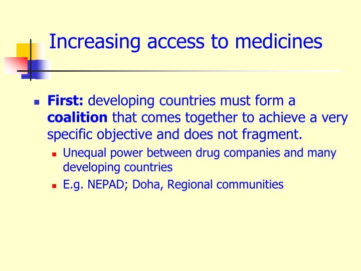 Increasing access to medicines