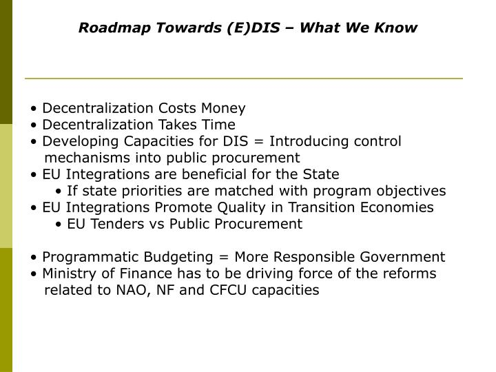 Roadmap Towards (E)DIS – What We Know