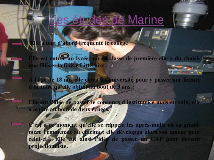 Les études de Marine