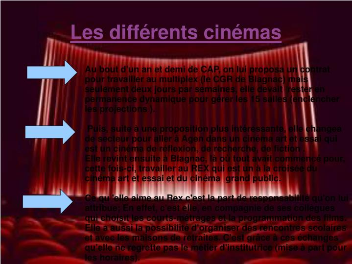Les différents cinémas