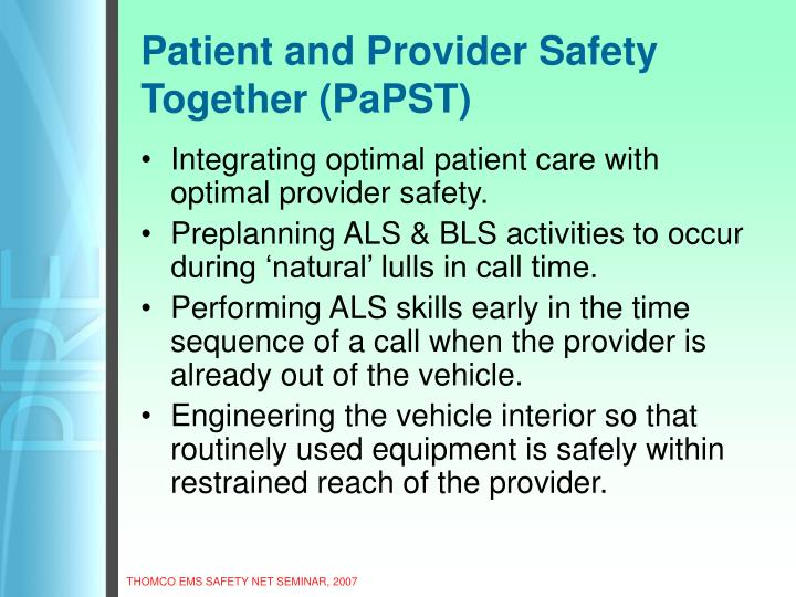 Patient and Provider Safety Together (PaPST)