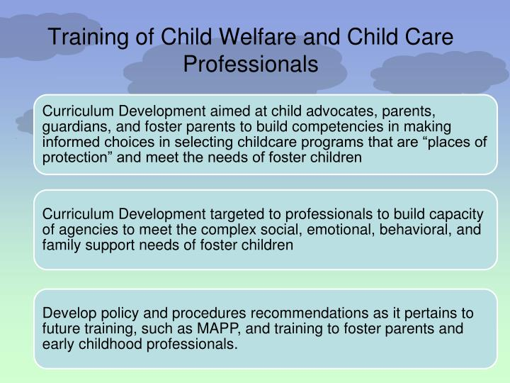 Training of Child Welfare and Child Care Professionals