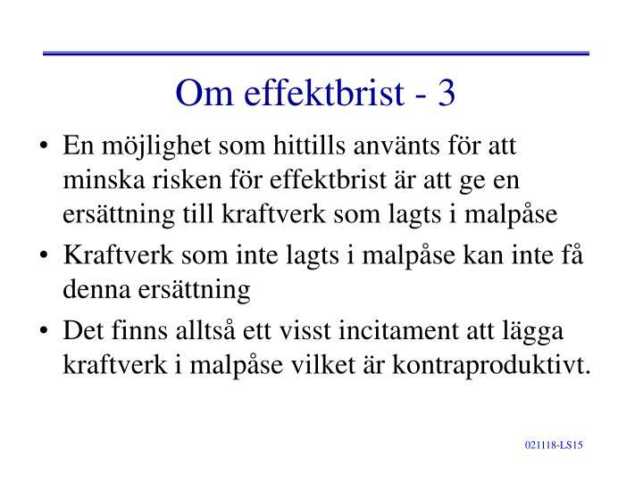 Om effektbrist - 3
