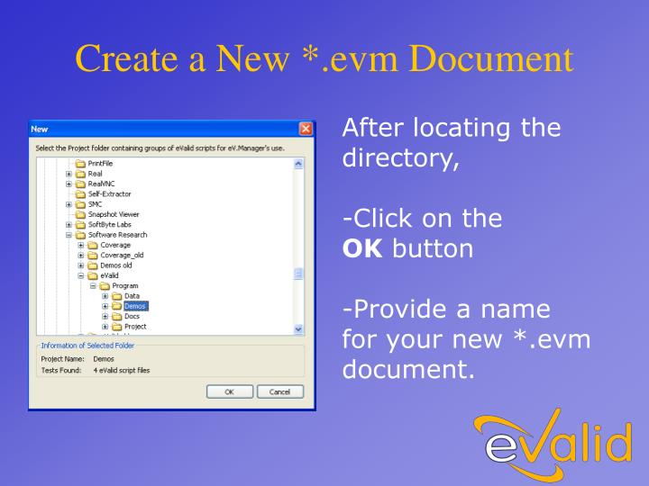 Create a New *.evm Document
