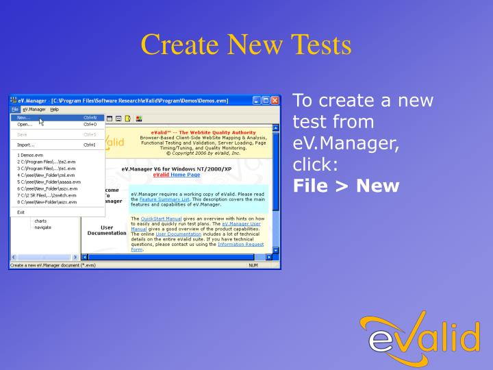 Create New Tests