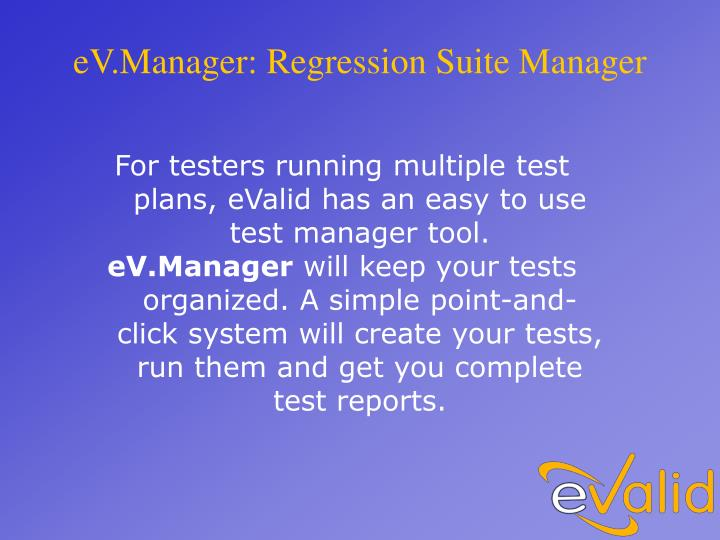 eV.Manager: Regression Suite Manager