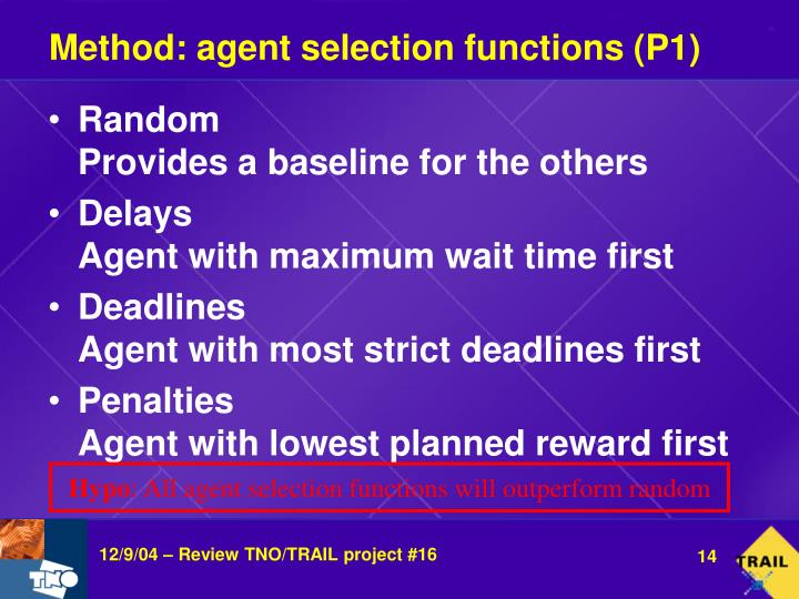 Method: agent selection functions (P1)