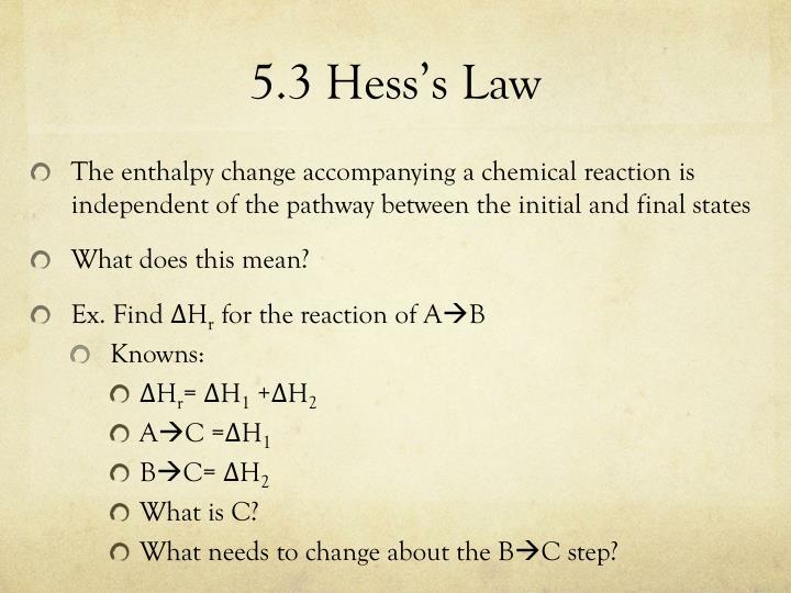 5.3 Hess's Law
