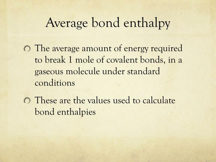 Average bond enthalpy