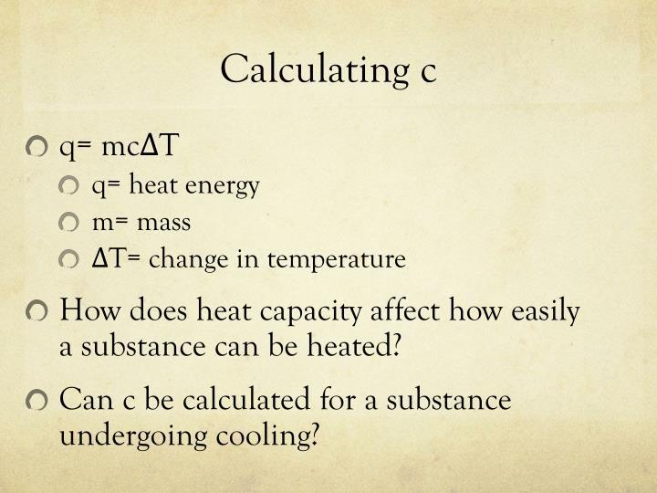 Calculating c