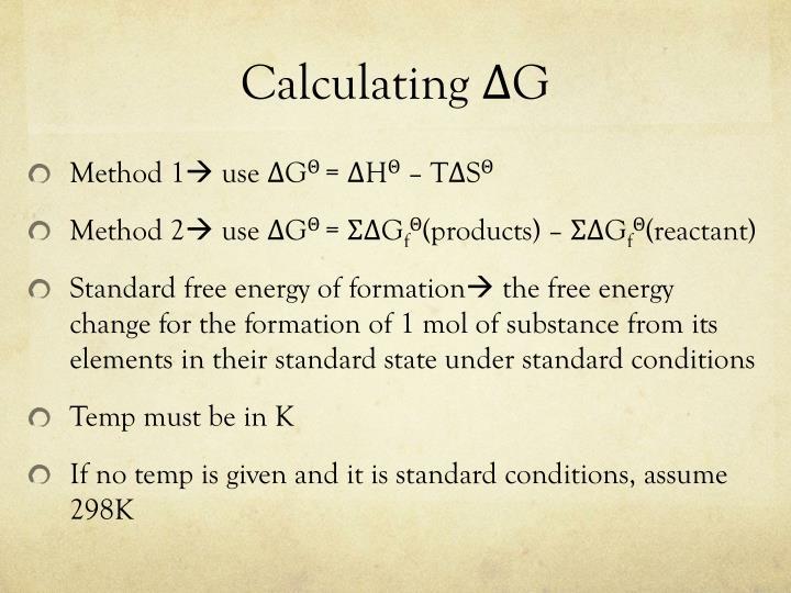 Calculating ΔG