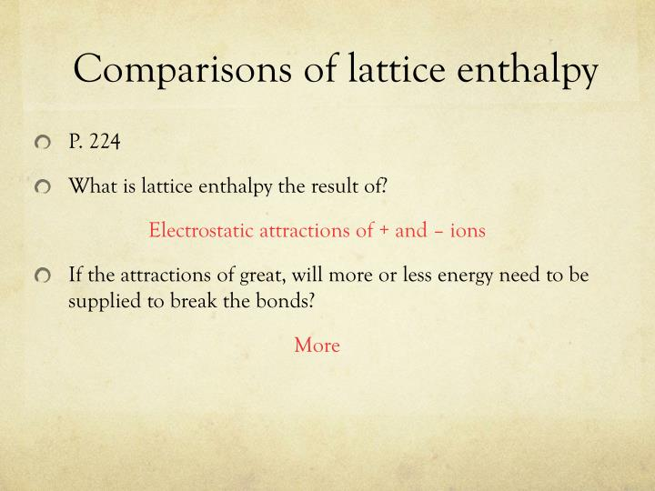 Comparisons of lattice enthalpy