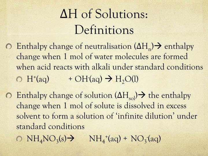 ΔH of Solutions:
