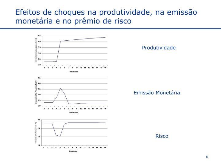 Efeitos de choques na produtividade, na emissão monetária e no prêmio de risco