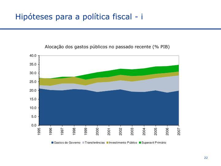 Hipóteses para a política fiscal - i