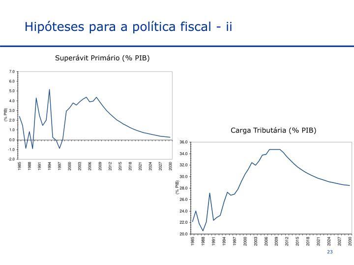 Hipóteses para a política fiscal - ii