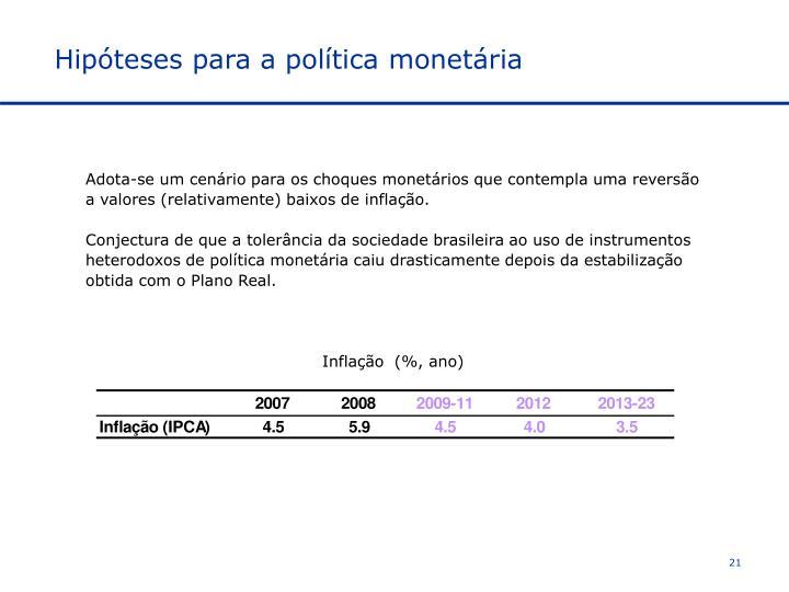 Hipóteses para a política monetária