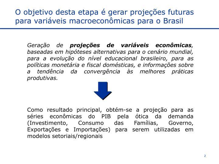 O objetivo desta etapa é gerar projeções futuras para variáveis macroeconômicas para o Brasil
