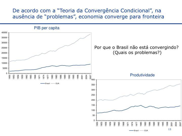 """De acordo com a """"Teoria da Convergência Condicional"""", na ausência de """"problemas"""", economia converge para fronteira"""
