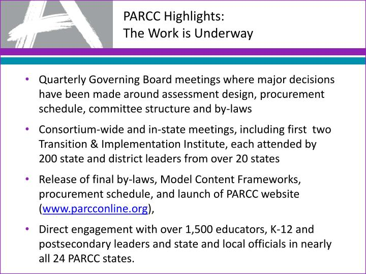 PARCC Highlights: