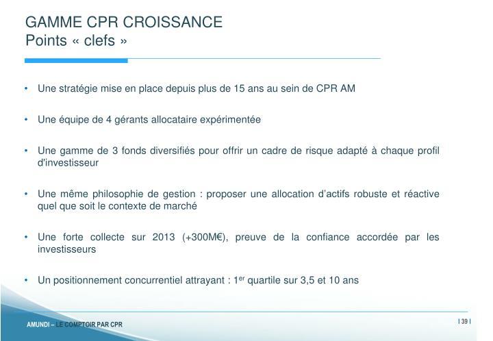 GAMME CPR CROISSANCE