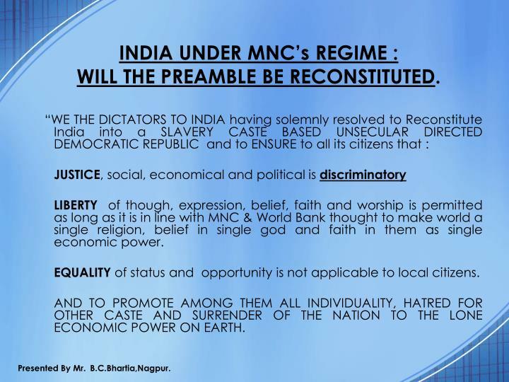 INDIA UNDER MNC's REGIME :