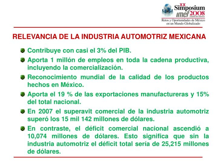 RELEVANCIA DE LA INDUSTRIA AUTOMOTRIZ MEXICANA