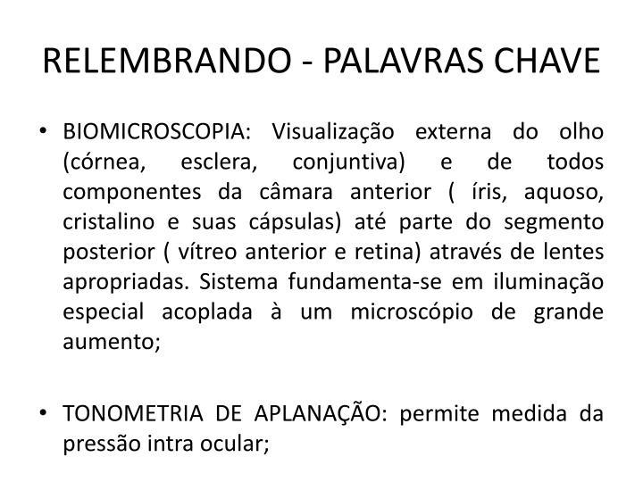 RELEMBRANDO - PALAVRAS CHAVE