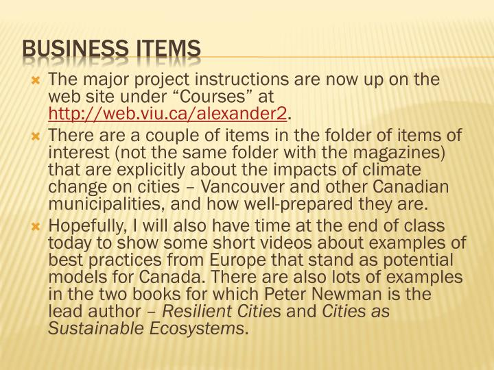 "The major project instructions are now up on the web site under ""Courses"" at"