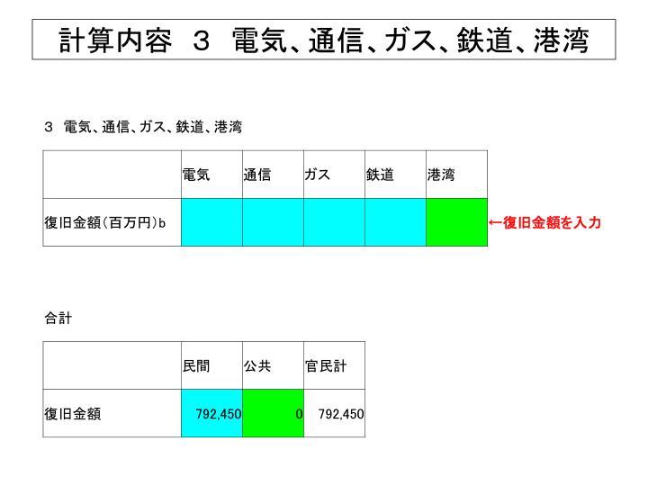 計算内容 3 電気、通信、ガス、鉄道、港湾